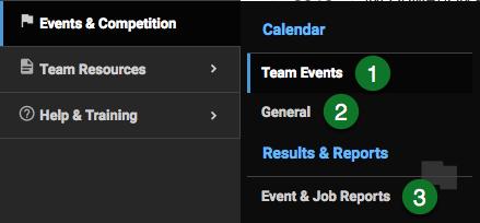 Events & Competition menu