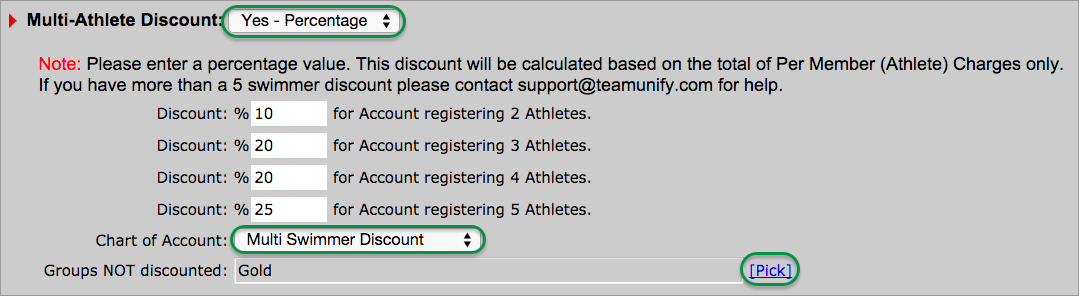 Multi-Athlete Percentage Discount