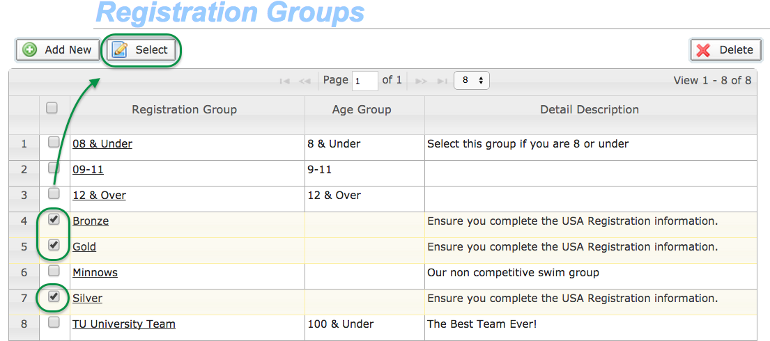 Select Registration Groups