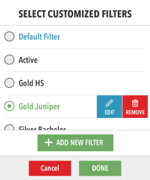 Select, edit, add or remove filter