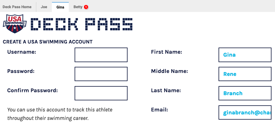 Create a USA Swimming Account