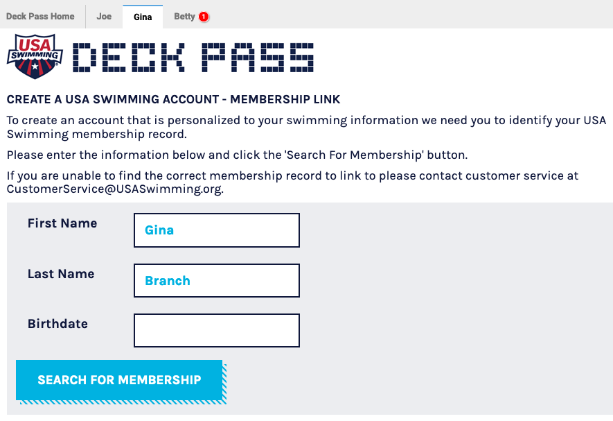 Create a USA Swimming Account - Membership Link