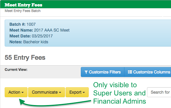 Meet Entry Fees