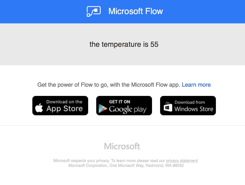 Microsoft Flow - Temperature sensor - TagoIO