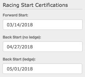 Racing Start Certifications