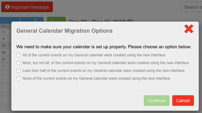 General Calendar Migration Options