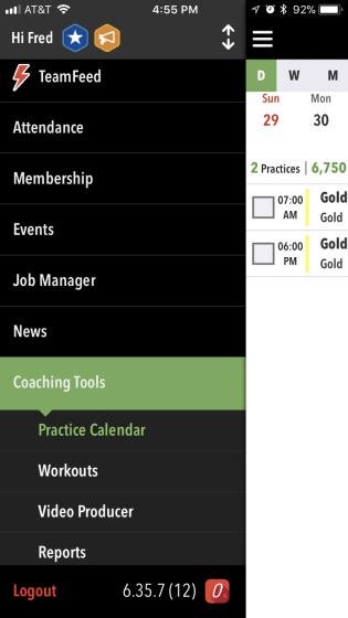 Coaching Tools menu in OnDeck