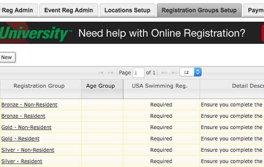 Registration Groups tab