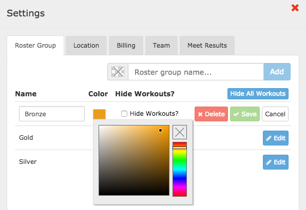 Coaching Tools Settings - Roster Group colors