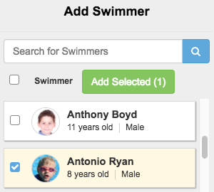 Double click swimmer to add