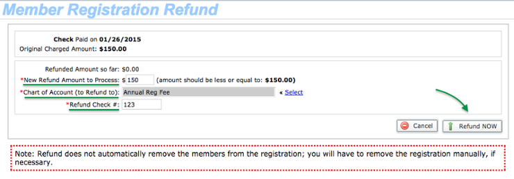 Registration Refund details