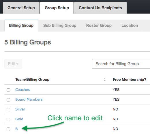 Billing Groups