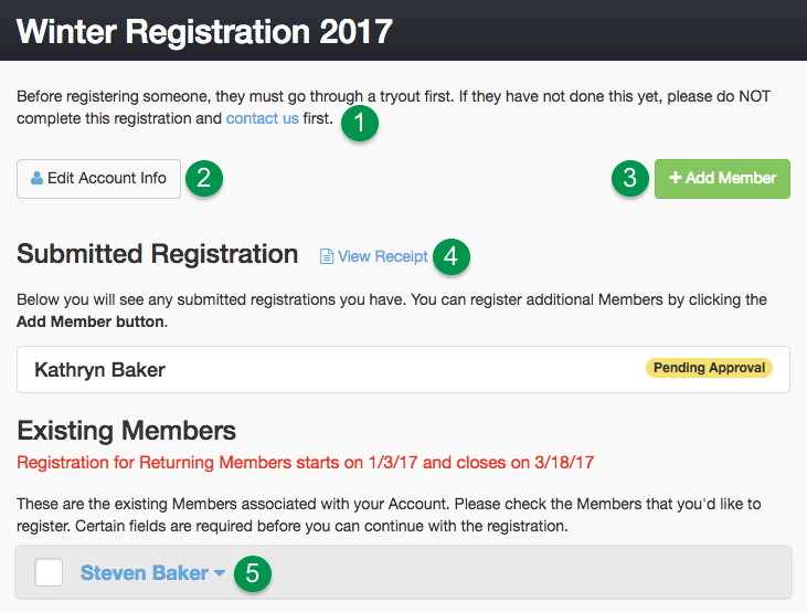 Registration Member Selection