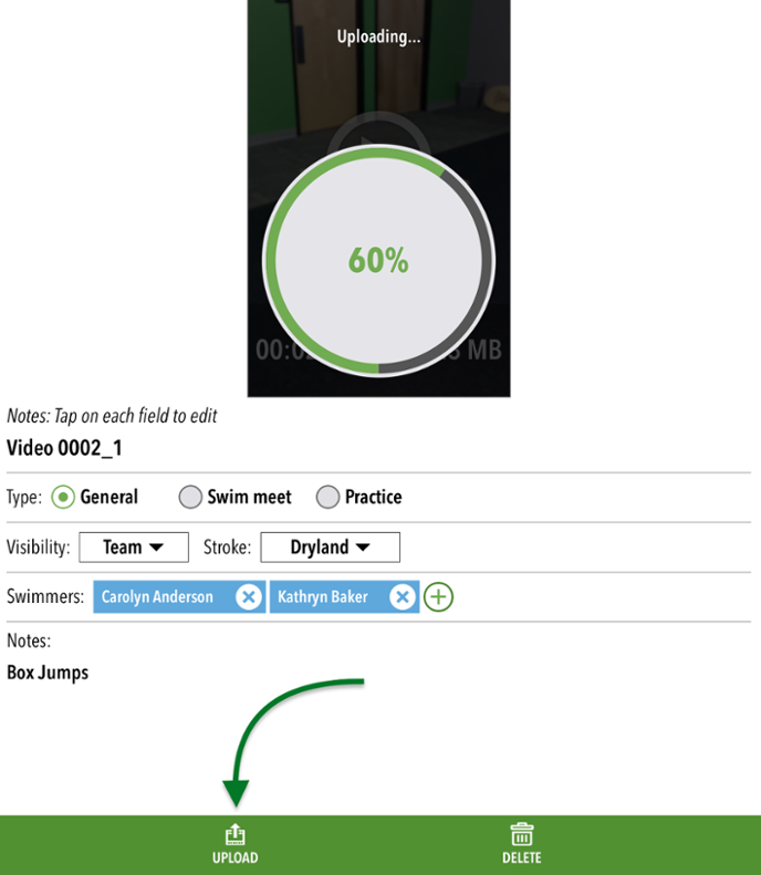 Upload video button and progress meter