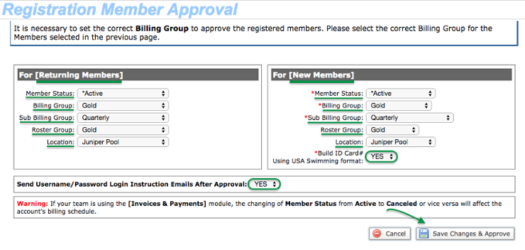 Registration Member Approval