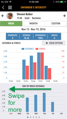 Intensity Report with Day of Week Distance graph