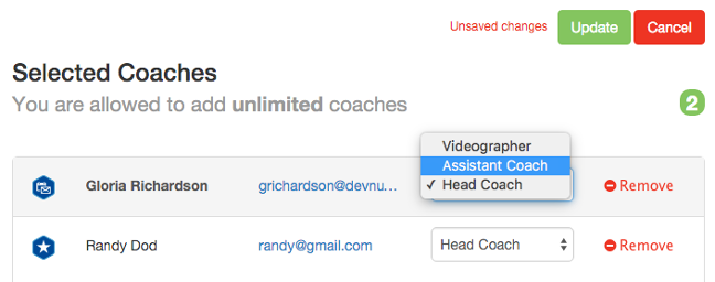 Select Coach admin level