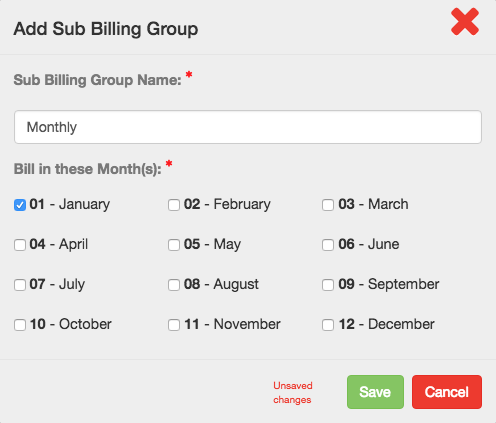Add Sub Billing Group