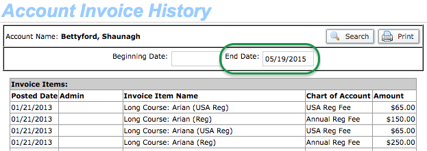 Account Invoice History
