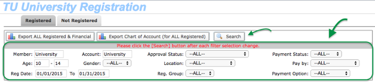Registration filter selections