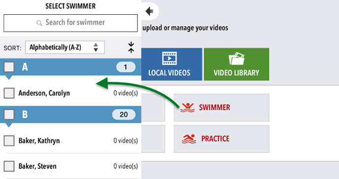 Attach a video to a swimmer
