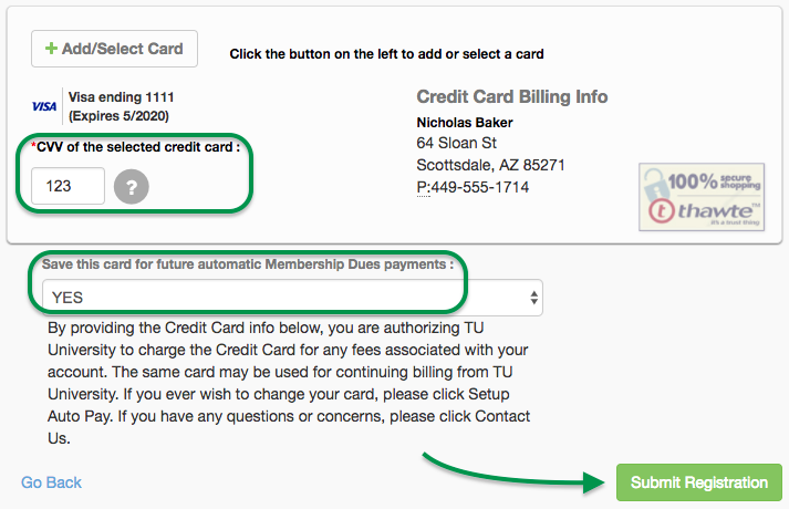 Credit card CVV, Save CC, Submit Registration