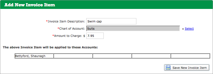 Add New Invoice Item