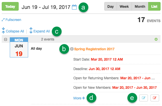 Calendar List view controls