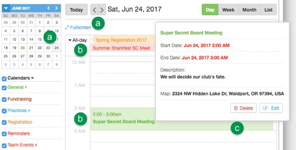 Calendar Day view controls