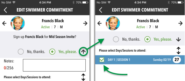 Edit Swimmer Commitment