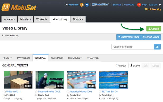 MainSet Web Application Video Library