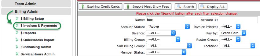 Invoices & Payments menu