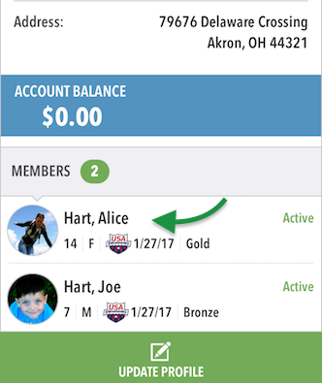 Tap a Member to view details