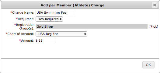 Add per Member (Athlete) Charge