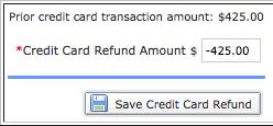 Save Credit Card Refund button