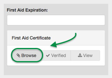 Browse for First Aid Certificate