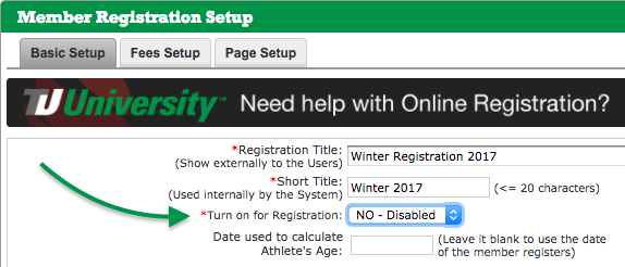 Member Registration Setup