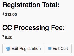 Registration Total, CC Processing Fee