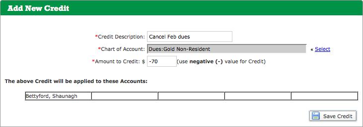 Add New Credit