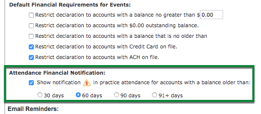 Attendance Financial Notification section