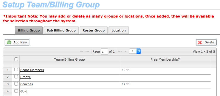 Setup Billing Group