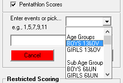 TouchPad Pentathlon gender/age group drop down