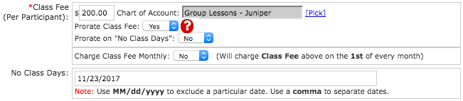 Lessons Class Fees and No Class Days