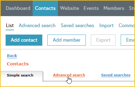 Advanced contact search - Wild Apricot Help