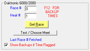 Electronic timer section on Enter Results in TouchPad