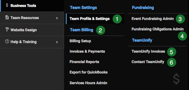 Business Tools menu
