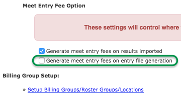Meet Entry Fee Option