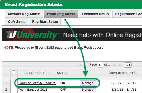 Event Reg Admin tab