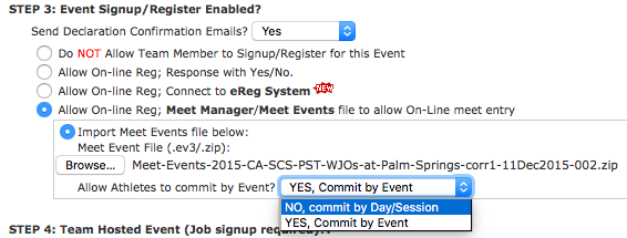 Set athletes to commit by day/session in event creation