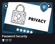 Content tile for Password Security Topic. Below the Topic title are three trophies. One trophy is shaded in.